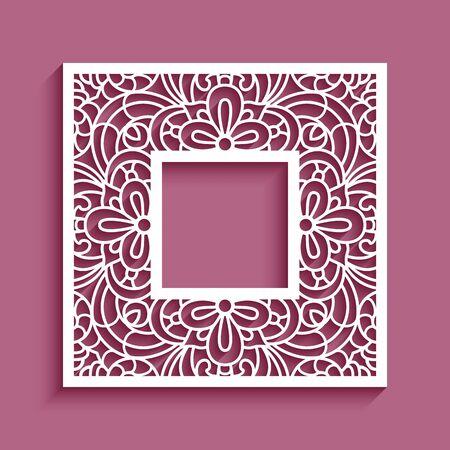 Marco cuadrado con adorno de borde de encaje, plantilla de vector para corte por láser, elegante decoración de papel recortado Ilustración de vector