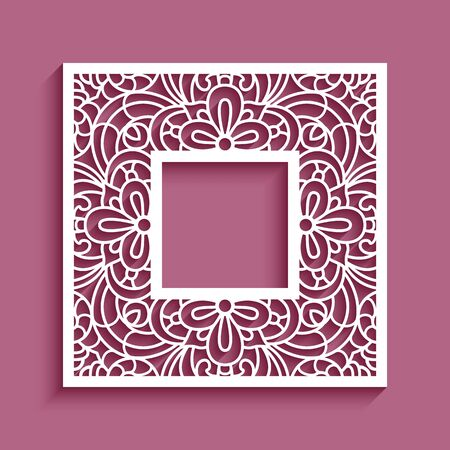 Square frame with lace border ornament, vector template for laser cutting, elegant cutout paper decoration Illusztráció