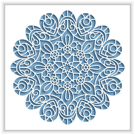 White panel with cutout round pattern, ornamental lace decoration, vector template for laser cutting