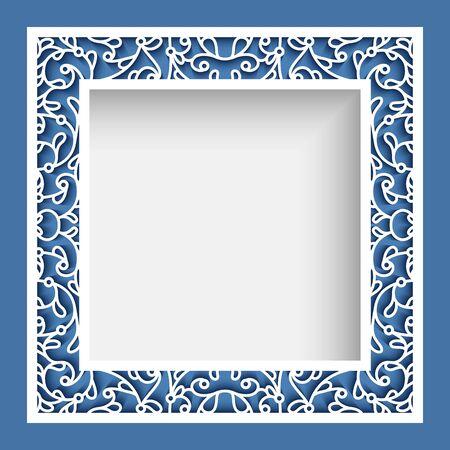 Quadratischer Bilderrahmen, elegante Randverzierung mit ausgeschnittenen Papierwirbeln, Vektorvorlage zum Laserschneiden, Vintage-Spitzendekoration für Grußkarten oder Hochzeitseinladungsdesign