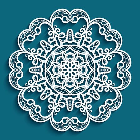 Round lace doily, crochet ornament, decorative snowflake, mandala circle pattern, vector template for laser cutting Illusztráció