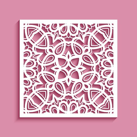 Square panel with lace pattern, ornamental tile, vector template for laser cutting
