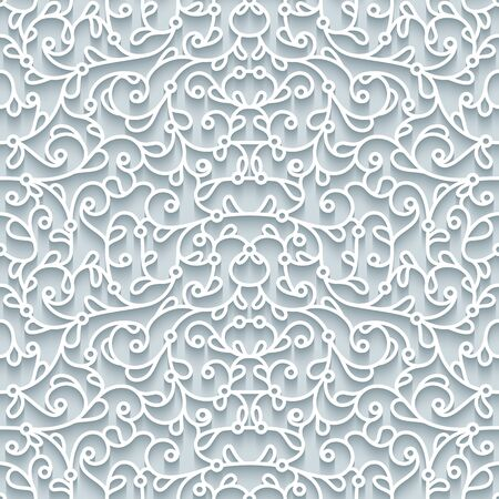 Curly lace texture, abstract seamless pattern with cutout paper swirls, filigree vector ornament on neutral background