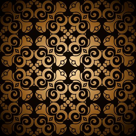 Vintage gold ornamental background with swirly decorative pattern Illusztráció