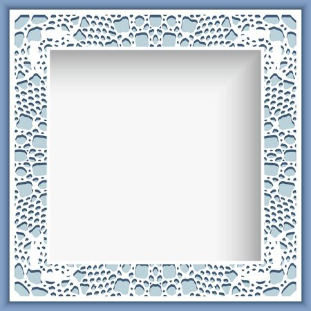 Square photo frame with crochet lace border pattern, ornamental decoration for greeting card or wedding invitation design