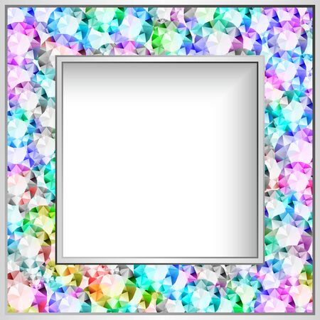 Square frame with diamond jewelry border pattern, elegant jewellery decoration for wedding invitation card or packaging design