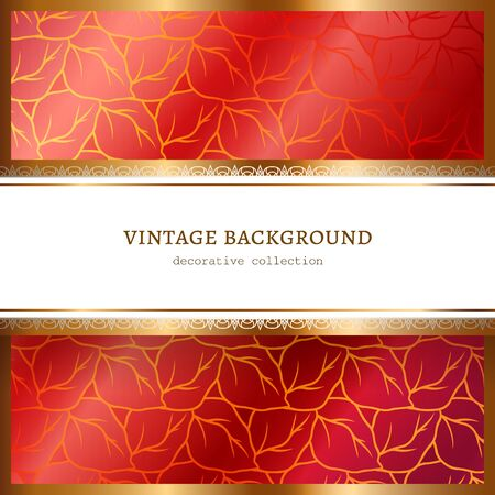 Ornamental red frame with gold border pattern, elegant background for wine label or packaging design with place for text