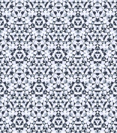 Abstract diamond background, seamless geometric pattern, elegant crystal texture, repeating kaleidoscopic ornament in neutral grey colors