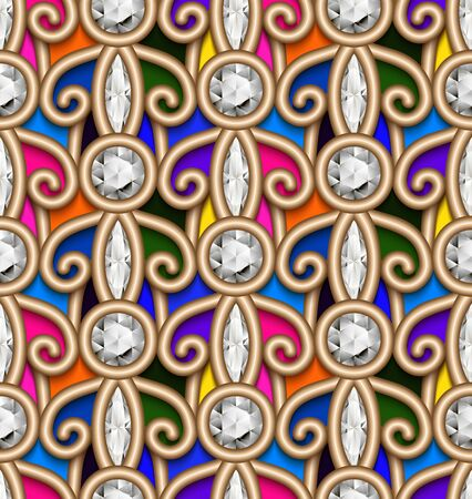 Vintage jewelry seamless pattern with filigree gold swirls, abstract diamond jewellery ornamental background