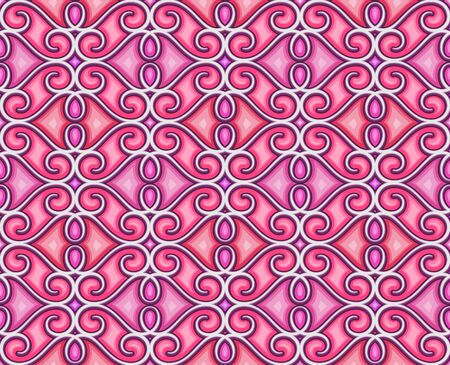 Abstract pink ornamental background, swirly seamless pattern