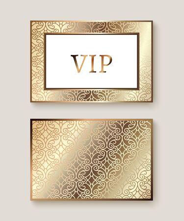 Elegant business or club card with gold metal pattern, exclusive VIP card or invitation design Illusztráció