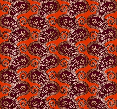 Vintage seamless paisley pattern with golden floral ornament on bight red background, abstract decorative print in traditional Indian style