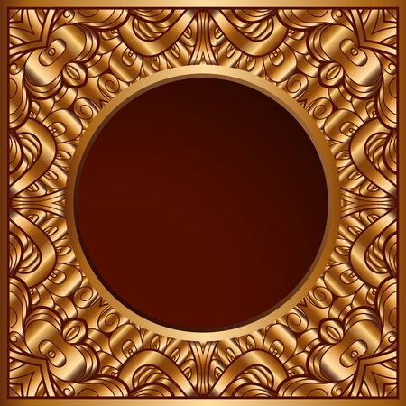 Vintage background with metal gold texture, ornamental golden frame, elegant decoration for gift card or packaging design