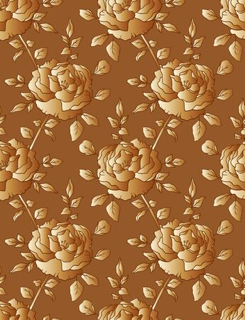 Golden roses, seamless floral pattern, ornamental gold background for wedding invitation card or packaging design