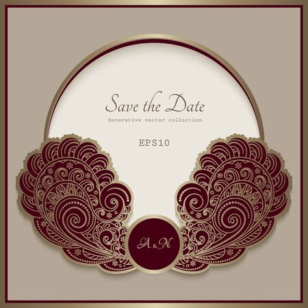 Vintage gold frame with filigree swirly pattern in shape of floral basket on beige background. Elegant decoration for packaging design, wedding invitation or save the date card. Place for text