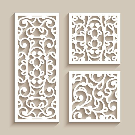 Set of square and rectangle tiles with cutout paper swirls, floral lace texture, ornamental panels with line pattern, elegant template for laser cutting or wood carving Illusztráció