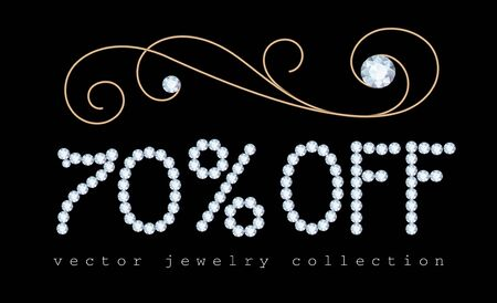 70% off, sale banner with diamond jewelry letters and gold jewellery decorative flourish on black Illusztráció