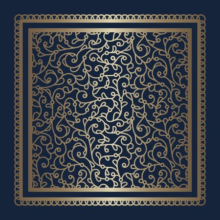 Square gold tile with floral swirls pattern and square frame, vintage golden ornamental panel on dark blue background, elegant template for laser cutting Illusztráció