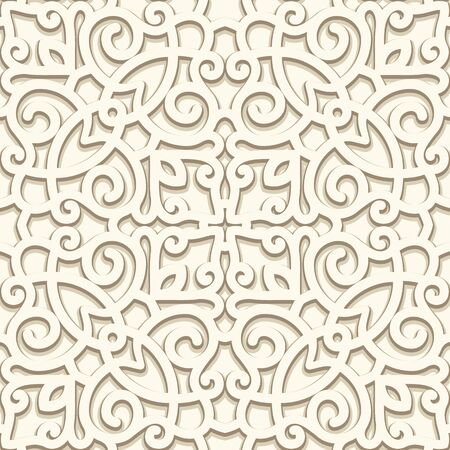 Vintage beige swirl pattern, ornamental square tile, swirly seamless background in neutral colors Illusztráció