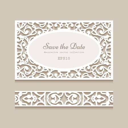 Cutout paper card and seamless lace border pattern. Vintage ornamental swirly decoration. Template for laser cutting. Elegant wedding invitation or save the date card design. Illusztráció