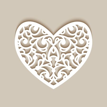 Ornamental heart with lace pattern, template for laser cutting, cutout paper decoration for wedding invitation or Valentine's day greeting card Illusztráció