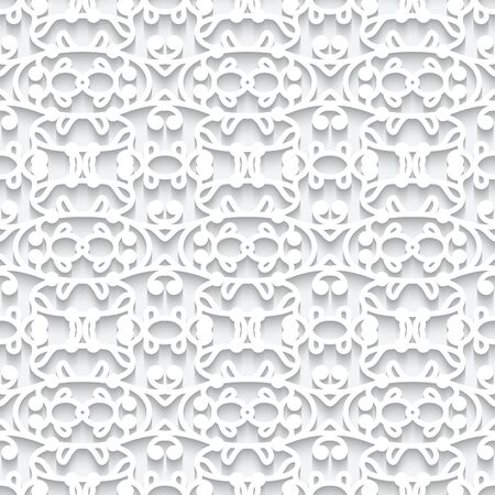 Cutout paper pattern, seamless lace texture, ornamental vector background in white color