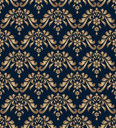 Elegant damask pattern with golden floral swirls. Gold scrolls on dark blue background. Vintage ornate wallpaper. Seamless ornament in baroque style.