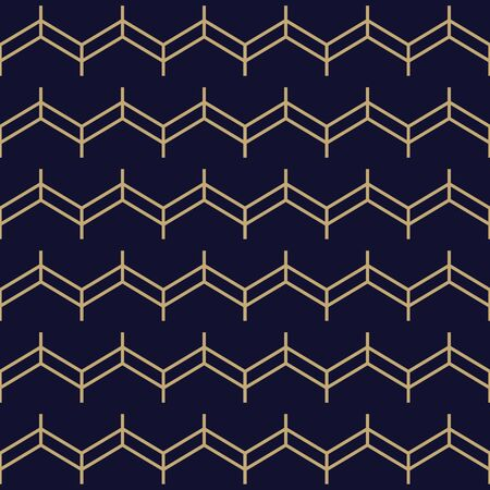 Simple geometric pattern with golden zigzag lines. Dark blue and gold ornamental background. Abstract wavy seamless texture in minimal style.