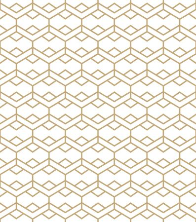 Abstract simple pattern with golden lines. Gold and white geometric background. Seamless texture in minimal style. Illusztráció