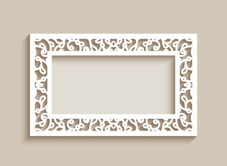 Rectangle frame with ornamental lace border. Cutout paper decoration for wedding invitation or save the date card design. Elegant template for laser cutting Illusztráció