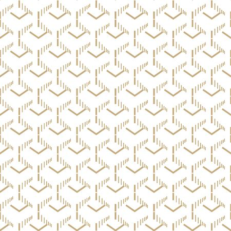 Abstract simple pattern with golden corners and hatches. White and gold ornamental background. Seamless geometric texture in minimal style.