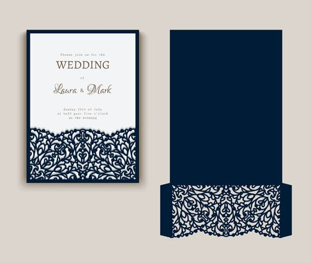 Cutout folding envelope for wedding invitation card with lace border pattern. Save the date card mock up. Elegant template for laser cutting.