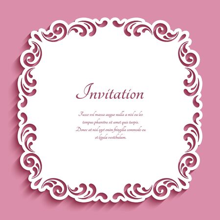 Square lace doily under cake with cutout paper swirls. Elegant template for laser cutting. Ornamental frame decoration for wedding invitation or save the date card design.