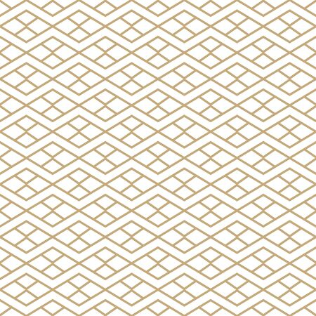 Simple geometric pattern with golden line ornament. White and gold luxury background. Abstract seamless texture in minimal style. Stock fotó - 143438258
