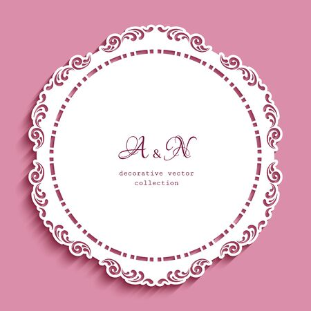 Round lace doily under cake with cutout paper pattern. Elegant template for laser cutting. Ornamental circle decoration for wedding invitation card design.