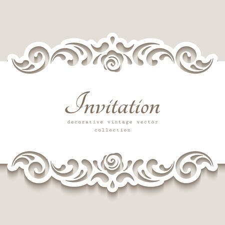 Cutout paper frame with swirly lace borders. Belly band decoration. Vintage template for laser cutting. Elegant ornament for wedding invitation card design. Place for text.
