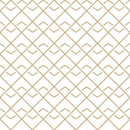 Simple geometric pattern with golden wavy and diagonal lines. White and gold ornamental background. Abstract seamless texture in minimal style. Illusztráció