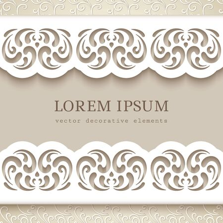 Cutout paper frame with lace border pattern. Swirly template for laser cutting. Elegant wedding invitation card design with curly floral decoration.