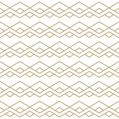 Simple geometric pattern with golden zigzag line ornament. White and gold luxury background. Abstract seamless texture in minimal style.