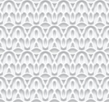 Cutout paper seamless pattern. Ornamental white background with lace texture.