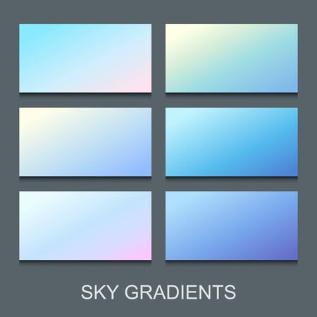 Set of gradients in various shades of blue, lilac and violet colors. Sky banners collection.