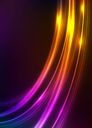 Abstract background with shiny luminous lines on black. Neon glow effect in retro style of 1980. Luxury template for web banner or corporate identity card design.