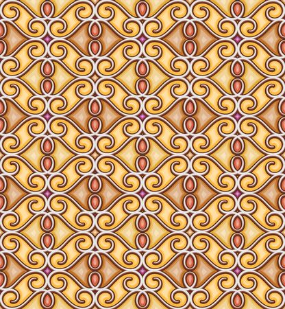 Abstract curly ornament in yellow colors, decorative ornamental tile, geometric seamless pattern Stock fotó - 146563887