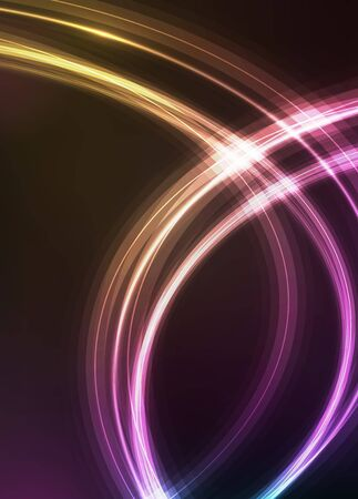 Abstract background with shiny swirl on black. Neon glow effect in retro style of 1980. Luxury template for web banner or business card design. Stock fotó - 145489347