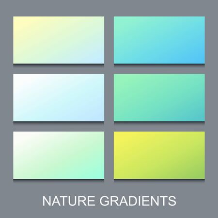 Set of soft gradients in blue and green natural colors. Abstract summer banners collection.