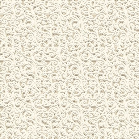 Vintage beige seamless pattern. Embossed leather or paper texture. Swirly floral ornament in neutral color. Elegant background for scrapbook design Stock fotó - 146818525