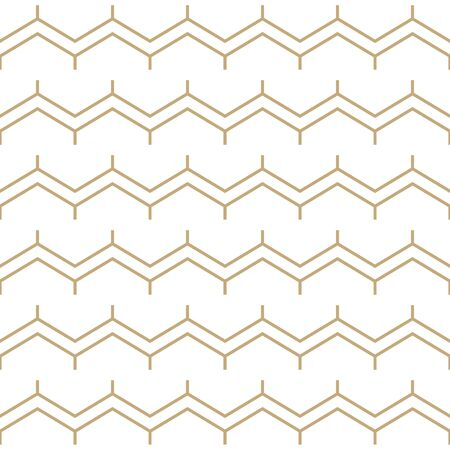 Simple geometric pattern with golden zigzag stripes. White and gold ornamental background. Abstract seamless texture in minimal style. Stock fotó - 146818528