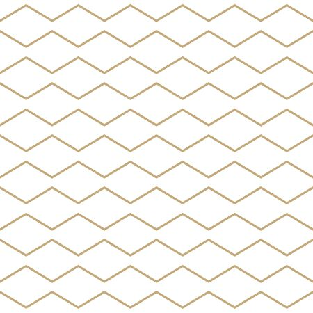 Simple geometric pattern with golden zigzag lines. White and gold ornamental background. Abstract seamless texture in minimal style. Stock fotó - 146818529
