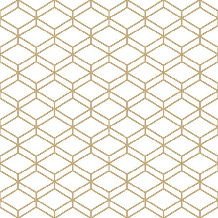 Abstract simple pattern with golden honeycomb grid. Gold and white geometric background. Modern seamless texture in minimal style.
