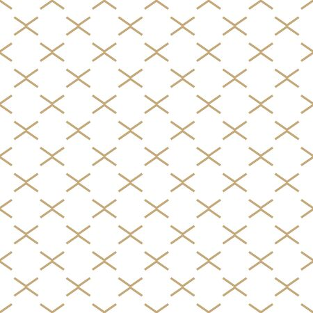 Abstract simple pattern with golden criss-cross lines. White and gold ornamental background. Seamless geometric texture in minimal style. Stock fotó - 146818531